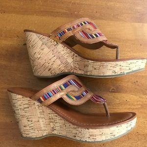 Bamboo cork sandal wedges